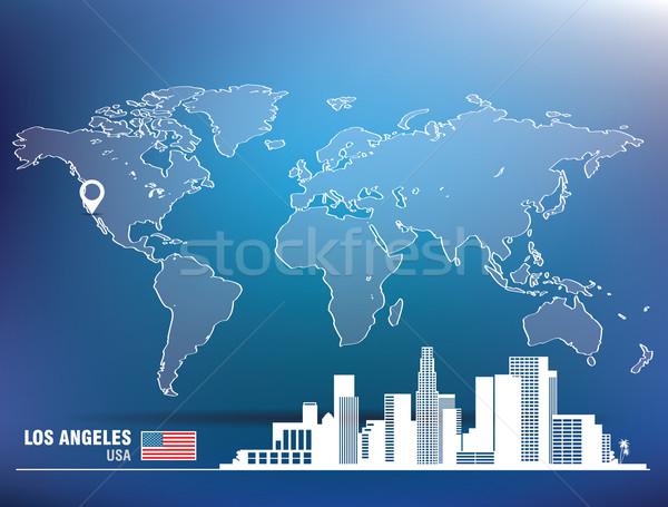Kaart pin Los Angeles skyline gebouw stad Stockfoto © ojal