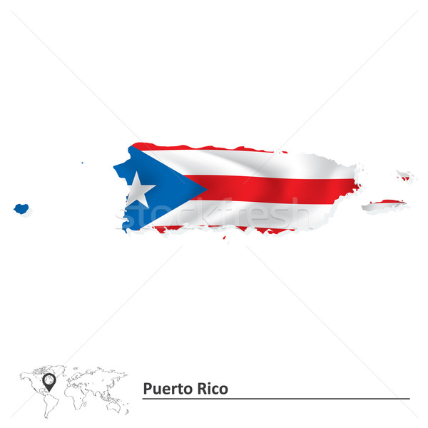 Map of Puerto Rico with flag Stock photo © ojal