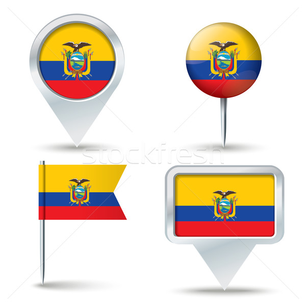 Map pins with flag of Ecuador Stock photo © ojal