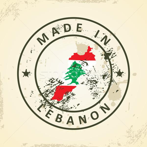 Bélyeg térkép zászló Libanon grunge tenger Stock fotó © ojal