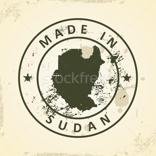 Bélyeg térkép Szudán grunge terv világ Stock fotó © ojal
