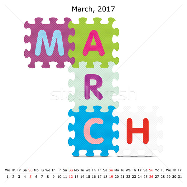 March 2017 puzzle calendar Stock photo © ojal