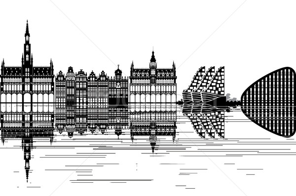 Brussel skyline zwart wit business gebouw stad Stockfoto © ojal