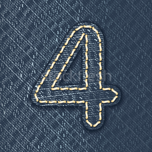 Number 4 made from jeans fabric Stock photo © ojal
