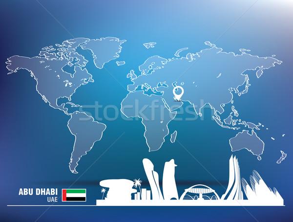 карта Pin Абу-Даби Skyline здании город Сток-фото © ojal