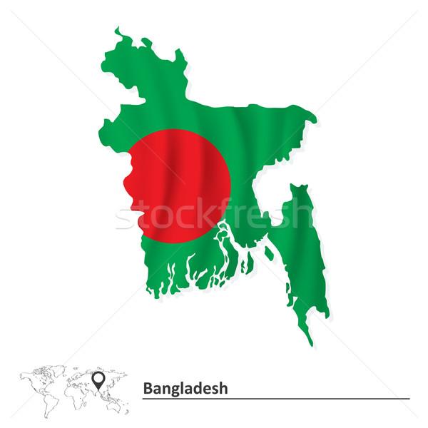 Térkép Banglades zászló üzlet absztrakt világ Stock fotó © ojal