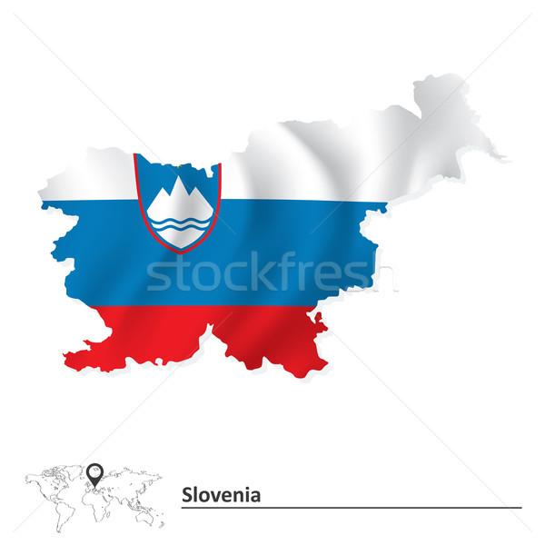 Térkép Szlovénia zászló háttér kék sziluett Stock fotó © ojal