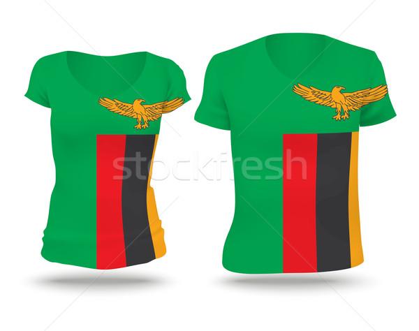 флаг рубашку дизайна Замбия женщину человека Сток-фото © ojal