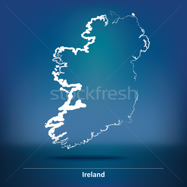 Rabisco mapa Irlanda mundo terra assinar Foto stock © ojal