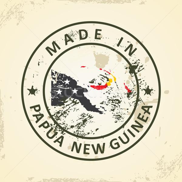 Carimbo mapa bandeira Papua Nova Guiné grunge viajar Foto stock © ojal