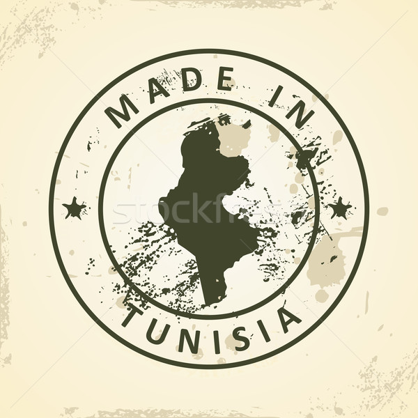 Stamp with map of Tunisia Stock photo © ojal