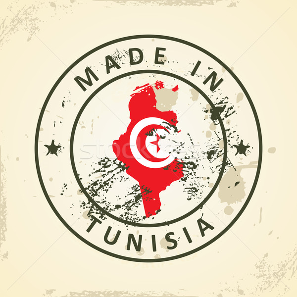 Stamp with map flag of Tunisia Stock photo © ojal