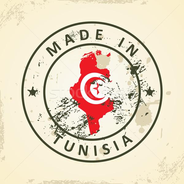 Damga harita bayrak Tunus grunge dünya Stok fotoğraf © ojal