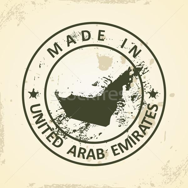 Damga harita Birleşik Arap Emirlikleri grunge dünya yeşil Stok fotoğraf © ojal