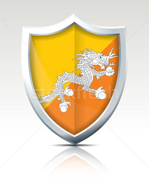 Shield with Flag of Bhutan Stock photo © ojal