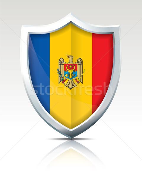 Schild vlag Moldavië textuur wereldbol abstract Stockfoto © ojal