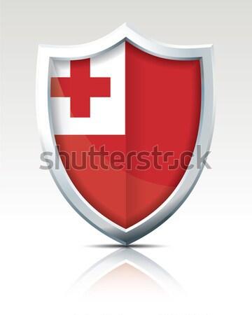 Escudo bandeira Tonga atravessar arte assinar Foto stock © ojal