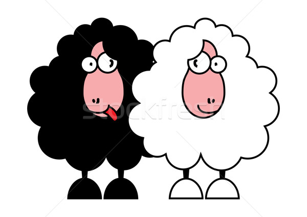 funny black and white sheeps Stock photo © ojal