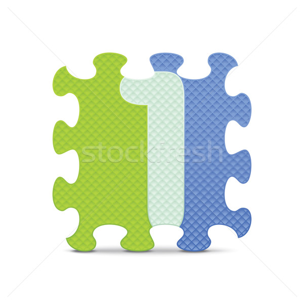 Vector number 1 written with alphabet puzzle Stock photo © ojal