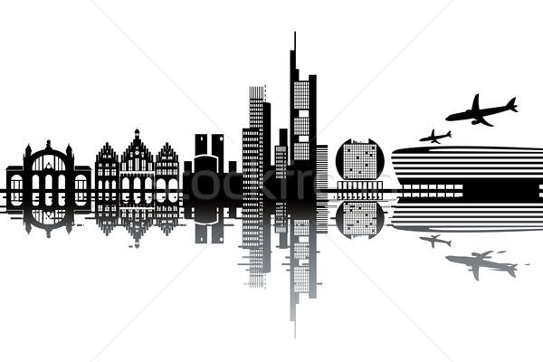 Франкфурт Skyline черно белые бизнеса здании пейзаж Сток-фото © ojal