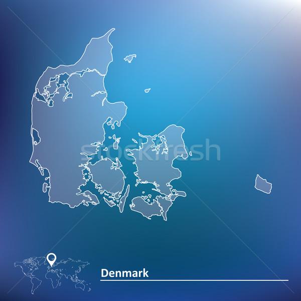 Mapa Dinamarca abstrato mundo silhueta branco Foto stock © ojal