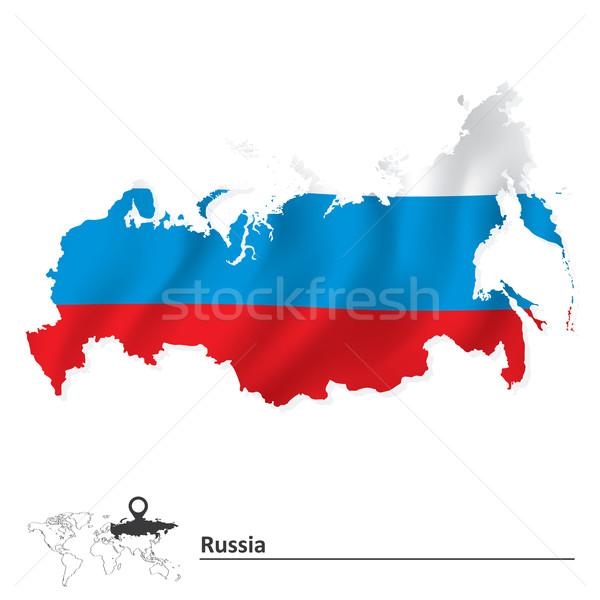 Carte Russie pavillon mer design Voyage Photo stock © ojal