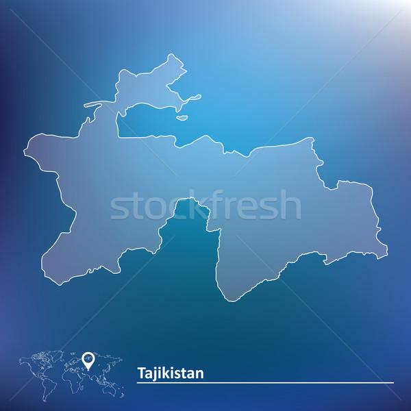карта Таджикистан ветер рисунок Азии профиль Сток-фото © ojal