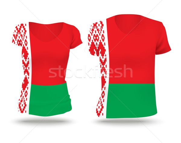 Vlag shirt ontwerp Wit-Rusland vrouw man Stockfoto © ojal