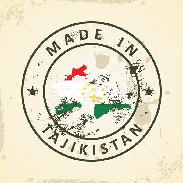 Bélyeg térkép zászló Tádzsikisztán grunge textúra Stock fotó © ojal