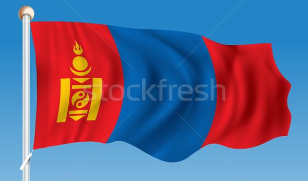 Vlag Mongolië kaart teken reizen wind Stockfoto © ojal