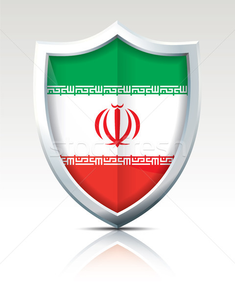 Stock photo: Shield with Flag of Iran