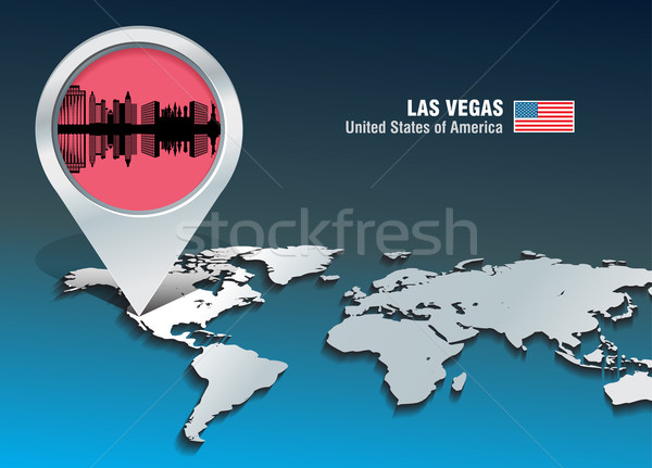 Map pin with Las Vegas skyline Stock photo © ojal