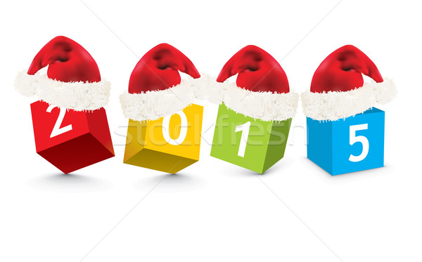 Stock photo: 2015 made from toy blocks with christmas hats