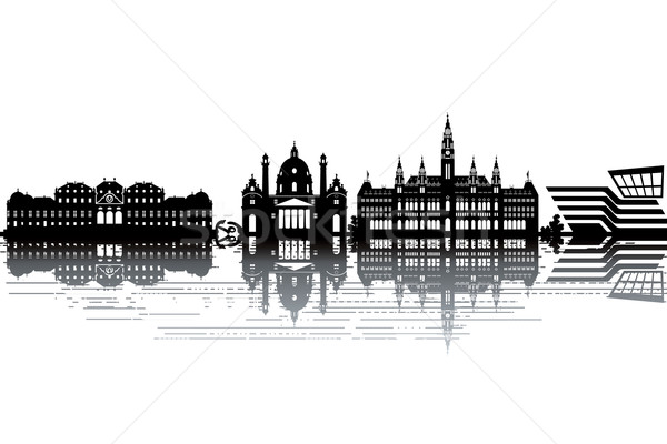 Вена Skyline черно белые бизнеса здании пейзаж Сток-фото © ojal