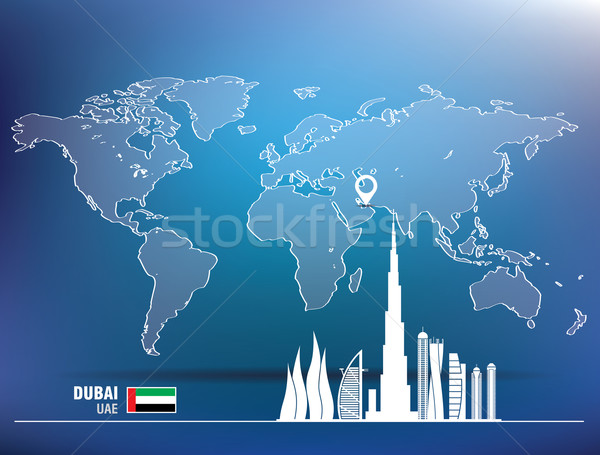 Map pin with Dubai skyline Stock photo © ojal