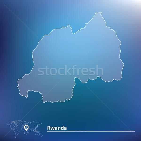 Carte Rwanda texture soleil bleu star Photo stock © ojal