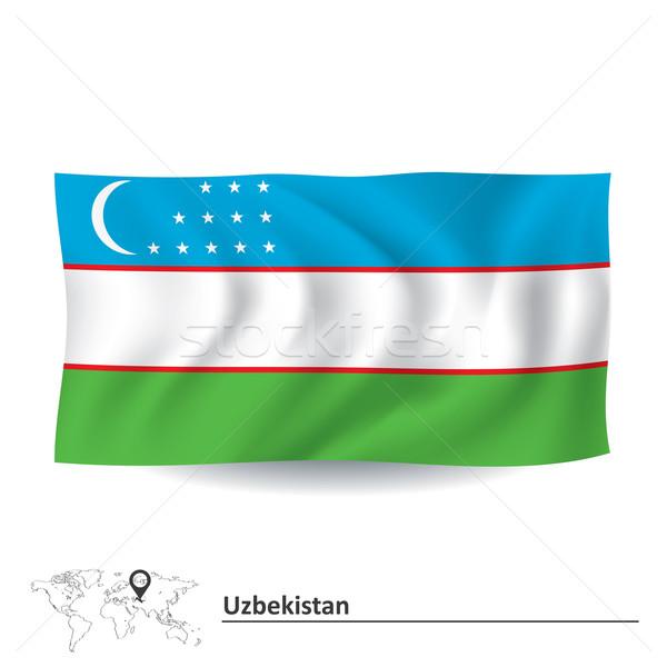 Zászló Üzbegisztán térkép hold felirat zöld Stock fotó © ojal