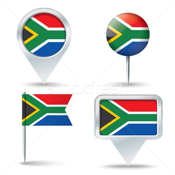 Stockfoto: Kaart · vlag · South · Africa · business · weg · witte