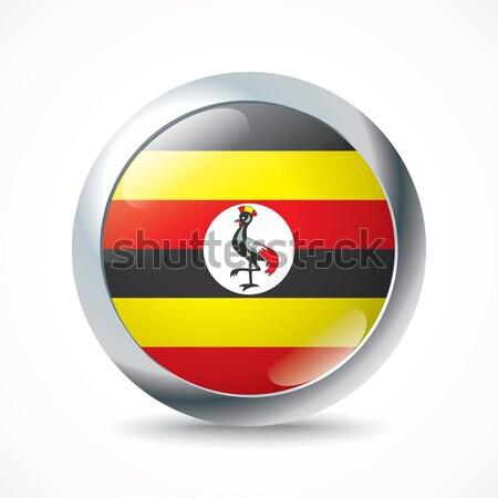 Uganda bandiera pulsante mondo segno nero Foto d'archivio © ojal