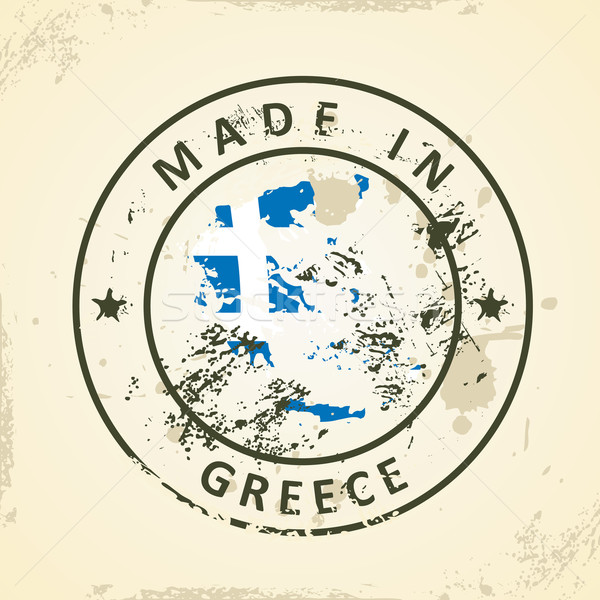 Stamp with map flag of Greece Stock photo © ojal
