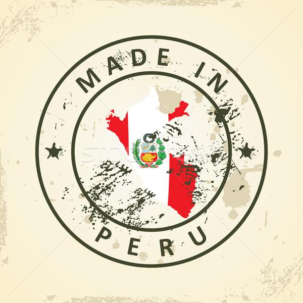 Bélyeg térkép zászló Peru grunge textúra Stock fotó © ojal