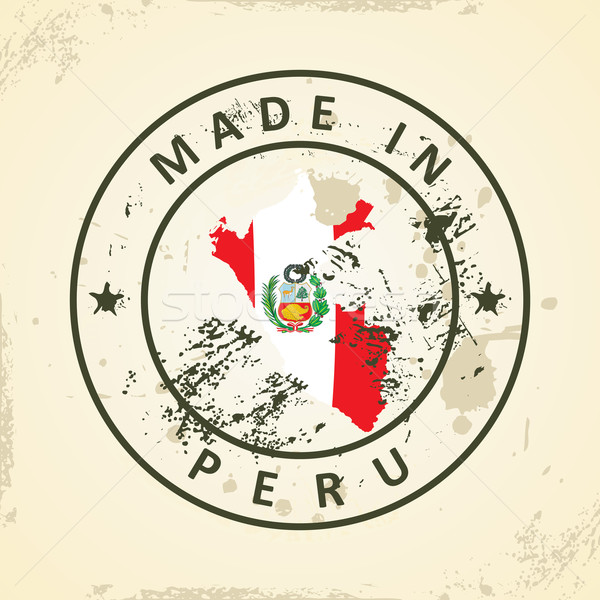 Sello mapa bandera Perú grunge textura Foto stock © ojal