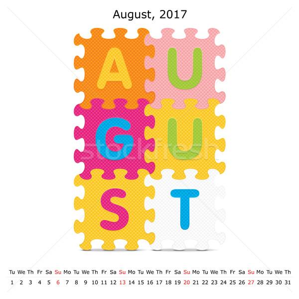 Agosto puzzle calendario business carta arte Foto d'archivio © ojal