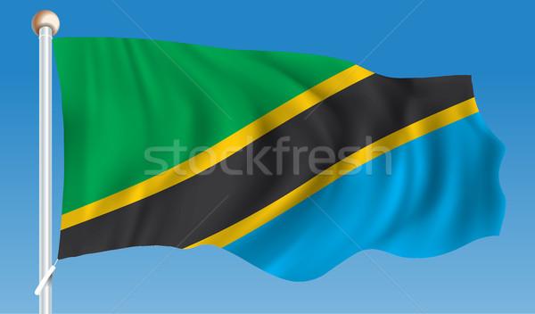флаг Танзания текстуры аннотация знак синий Сток-фото © ojal