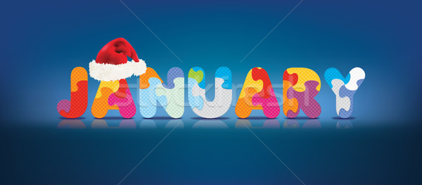 Vector JANUARY written with alphabet puzzle with christmas hat Stock photo © ojal