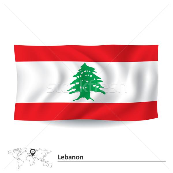 флаг Ливан морем зеленый путешествия черный Сток-фото © ojal