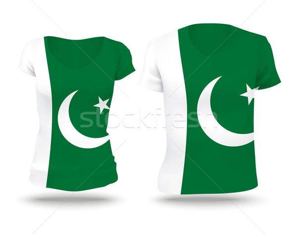Bayrak gömlek dizayn Pakistan kadın adam Stok fotoğraf © ojal