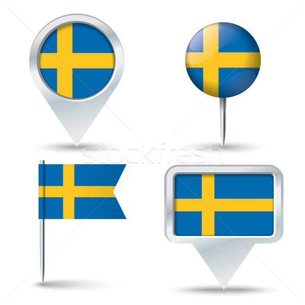 Mappa bandiera Svezia business strada bianco Foto d'archivio © ojal
