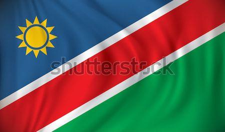 Bayrak Namibya doku güneş harita yeşil Stok fotoğraf © ojal