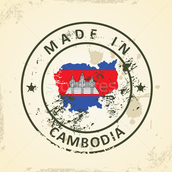 Timbro mappa bandiera Cambogia grunge città Foto d'archivio © ojal